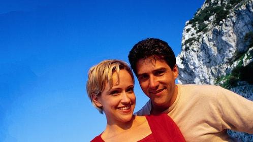 Couple on a beach in Gibraltar