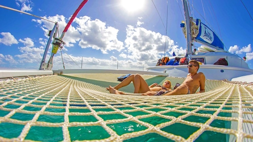 Sail boat sunbathing in Cancun Mexico