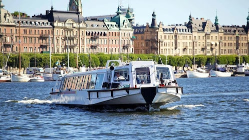 Sightseeing boat near a harbor in Stockholm