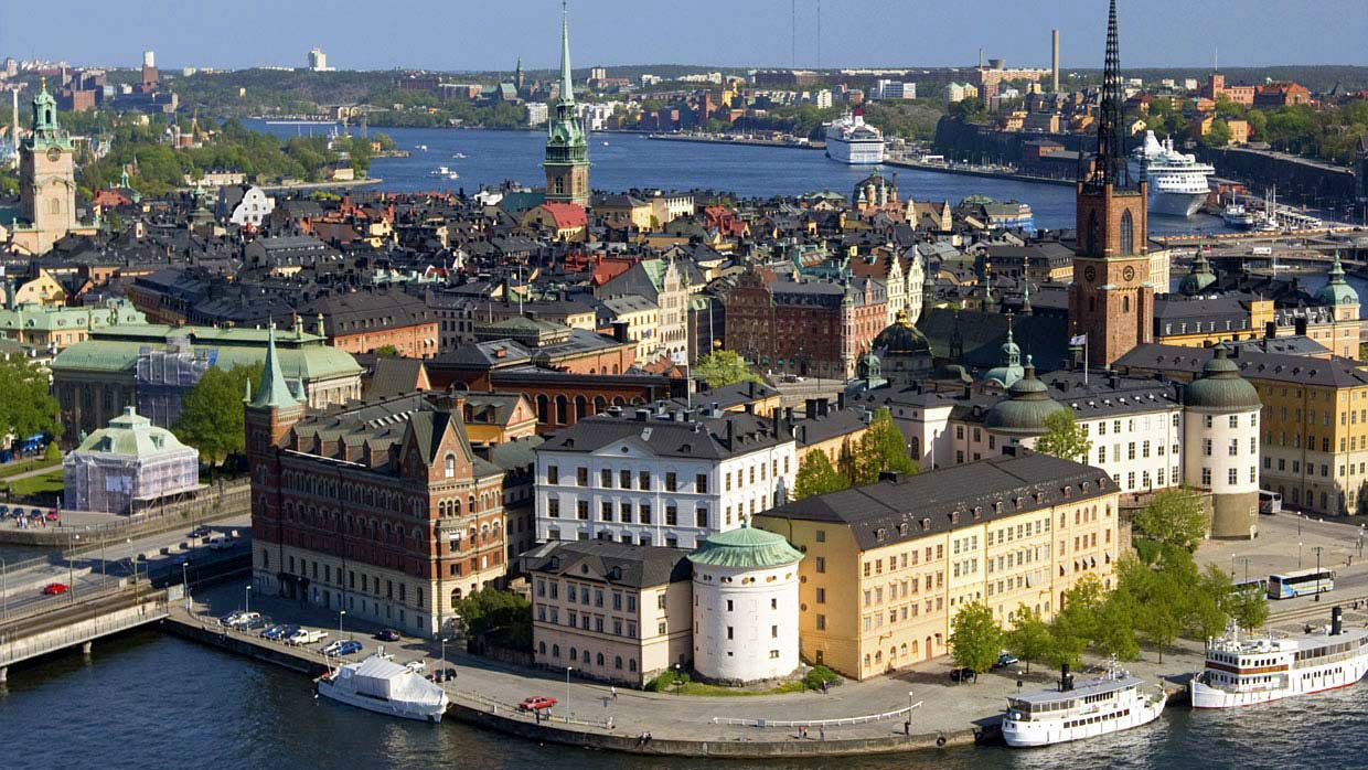 Panoramic view of Old Town in Stockholm