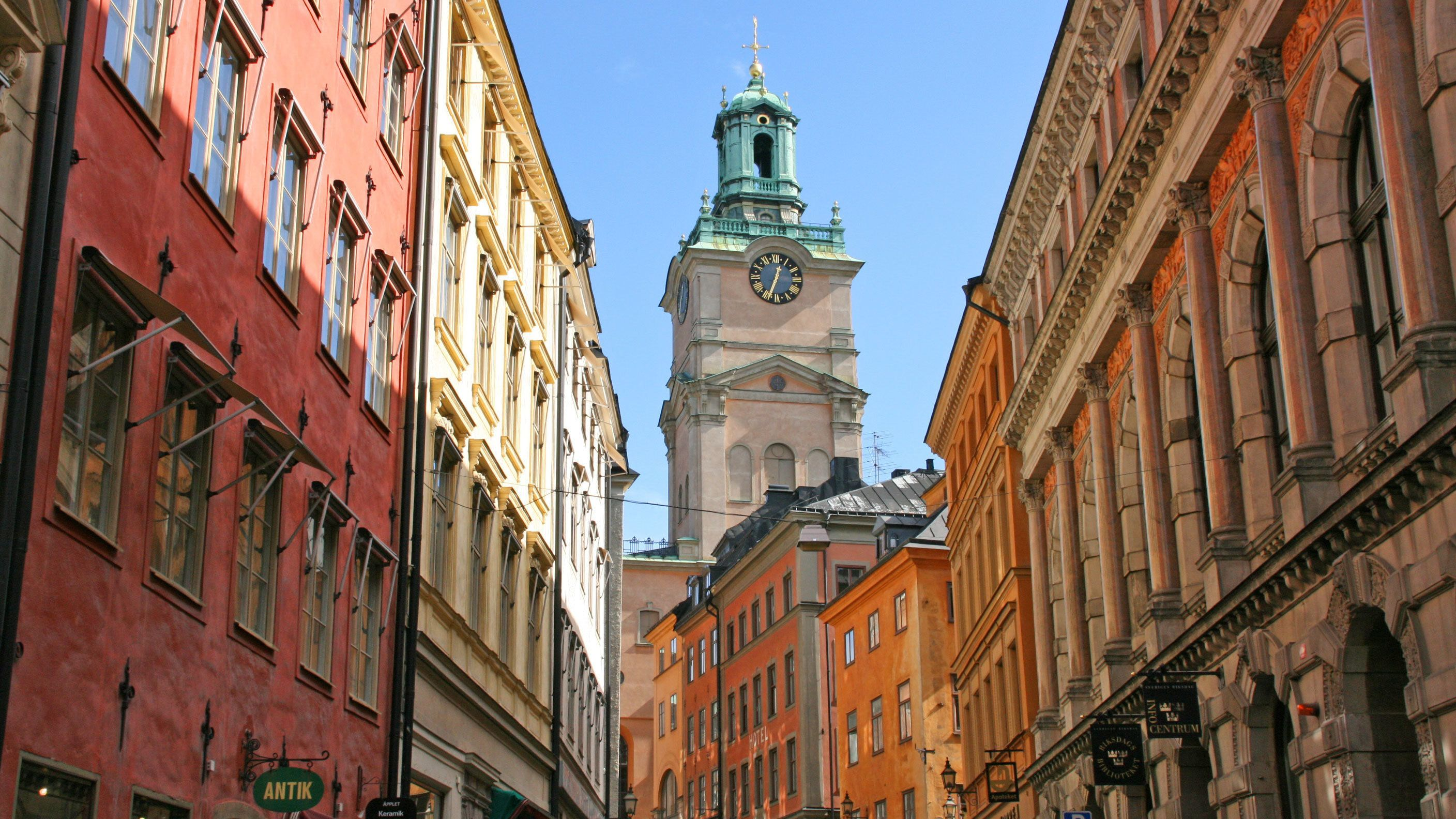 Clock tower and surrounding buildings in Old Town Stockholm
