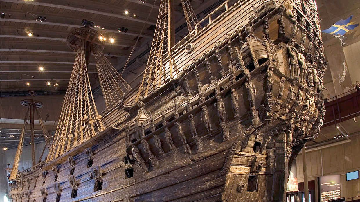 Salvaged warship at the Vasa Museum in Stockholm