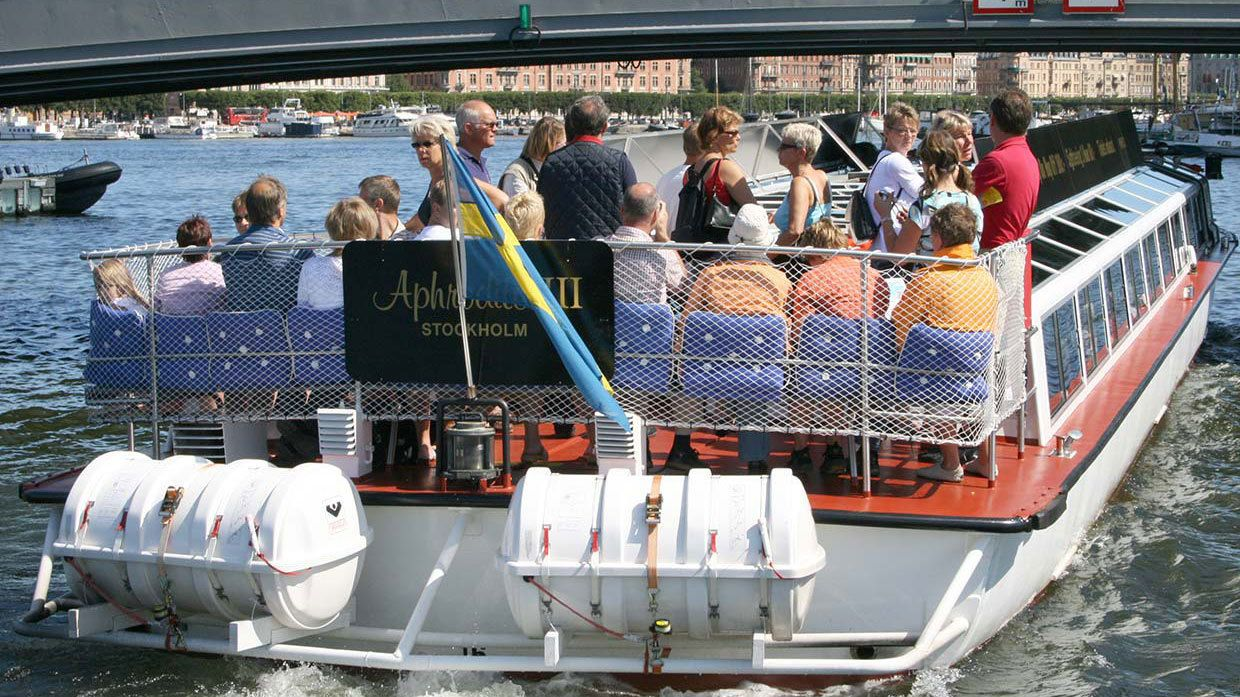 Passengers on a sightseeing cruise in Stockholm