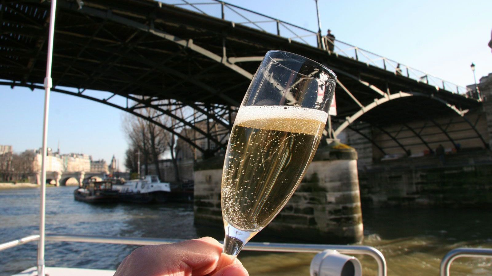 Champagne on a river cruise in Paris