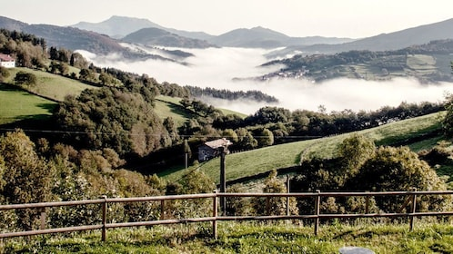 Scenic view of rolling hills and misty valleys from Tolosa