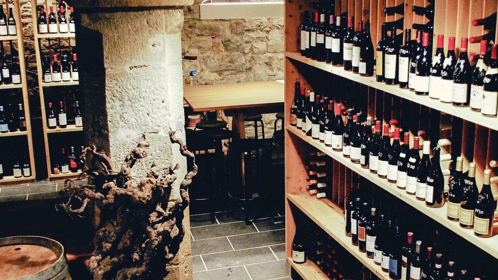 Shelves full of wine bottles in San Sebastian