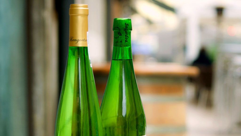 Bottles of wine in San Sebastian