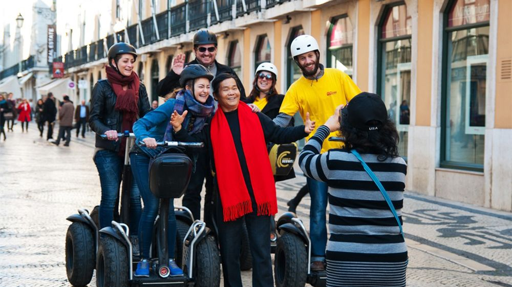 Segway group poses for a photo in Lisbon