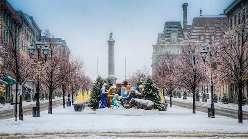 A nativity scene at a park in montreal