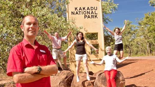 A group of people at the entrance to Kakadu national park