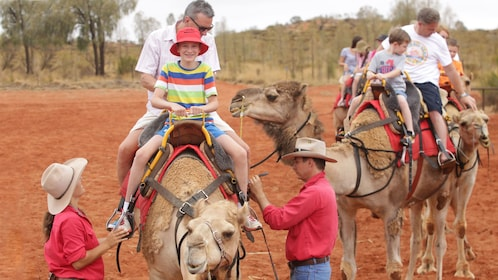 group riding on camels at the desert in Australia