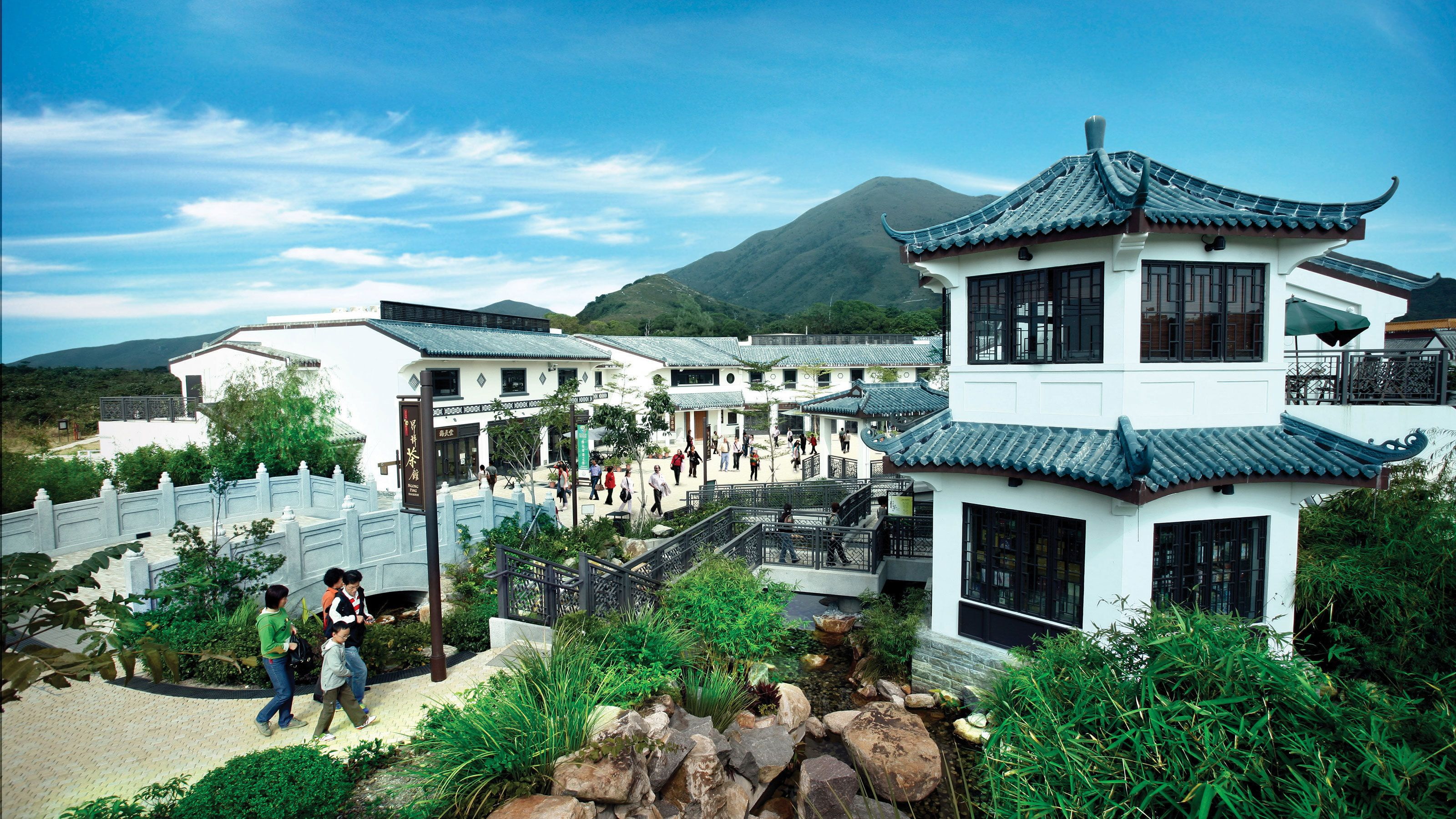 Traditional style buildings in a town in Hong Kong.