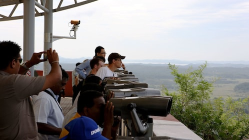 People on the observation deck at the DMZ in Seoul