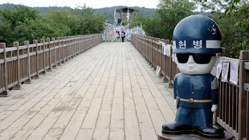 MP statue on a bridge at the DMZ in Seoul