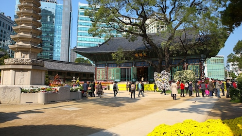 Jogyesa Temple with bright yellow flowers in bloom in Seoul