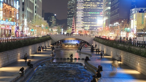 People around a river in Seoul at night