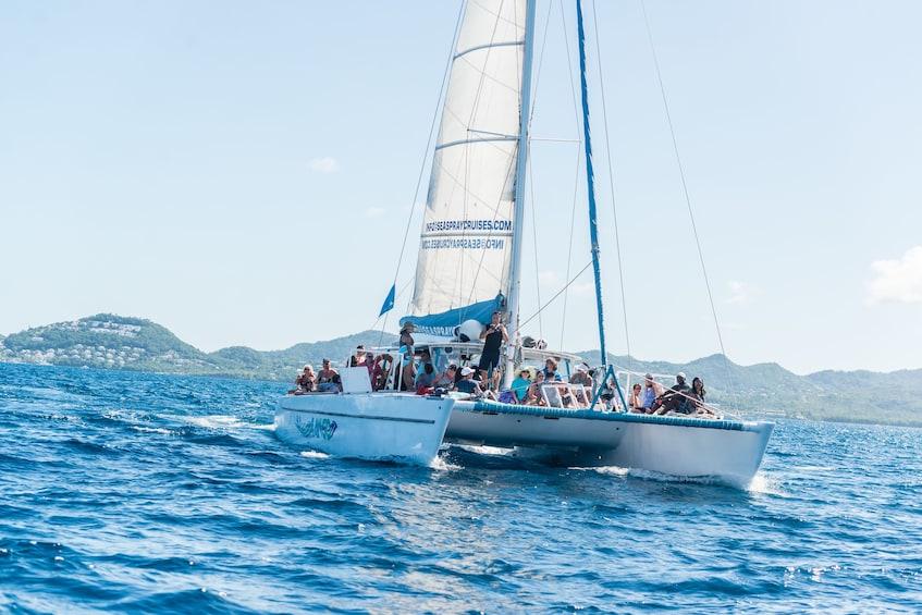 Show item 4 of 9. Tout Bagay Catamaran Cruise & Tour to Soufriere