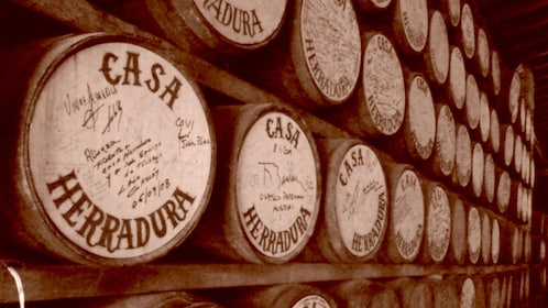 Barrels of tequila at Casa Herradura in Jalisco