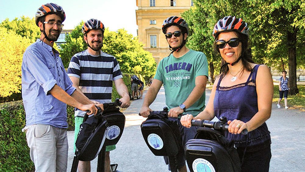 Smiling segway group in Munich