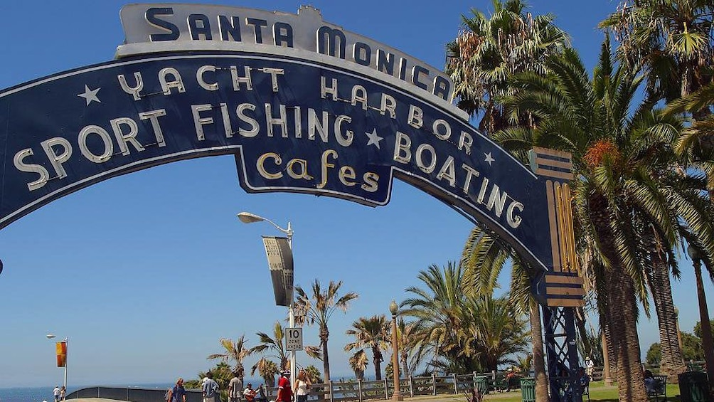 Show item 1 of 10. Entrance to the Santa Monica Yacht Harbor in Los Angeles