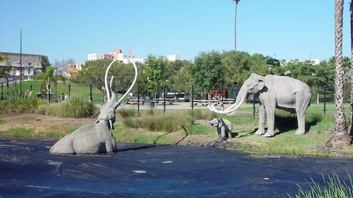 Mammoth sculptures at the La Brea Tar pits in Los Angeles