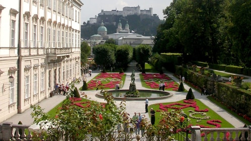 MIrabell Gardens with Fortress Hohensalzburg in the distance