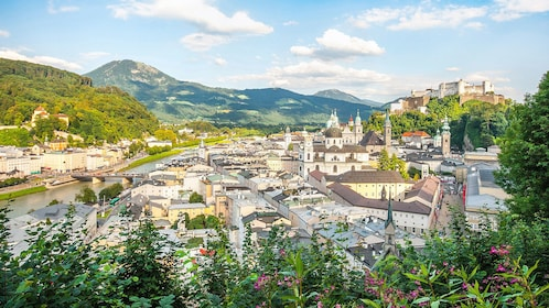 Panoramic view of Salzburg and surrounding mountains