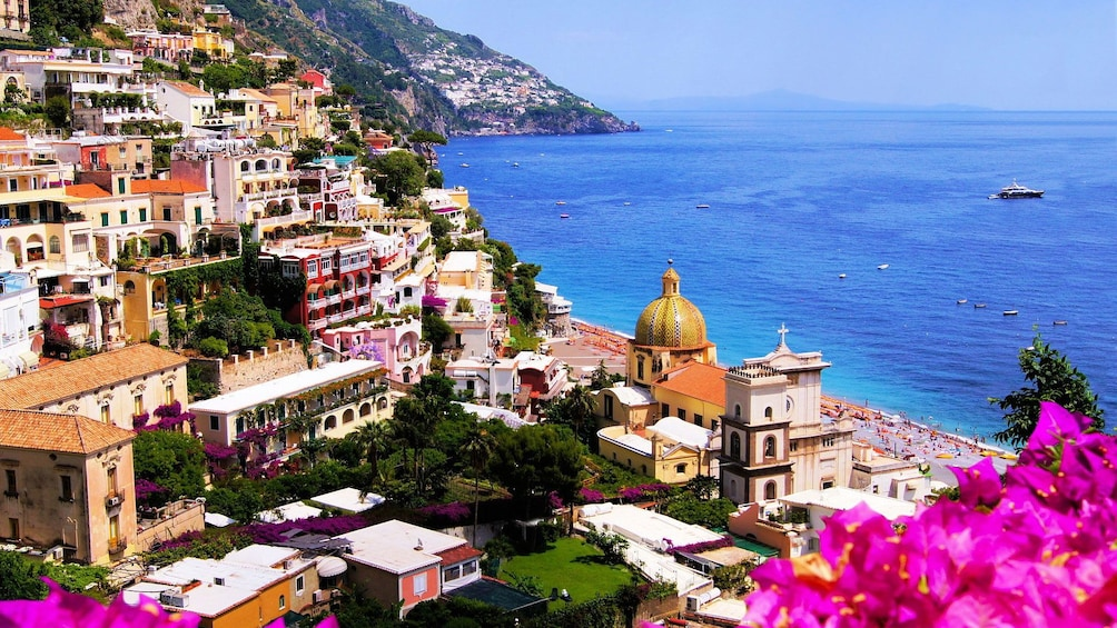 View of the terraced buildings on the hillside of Amalfi
