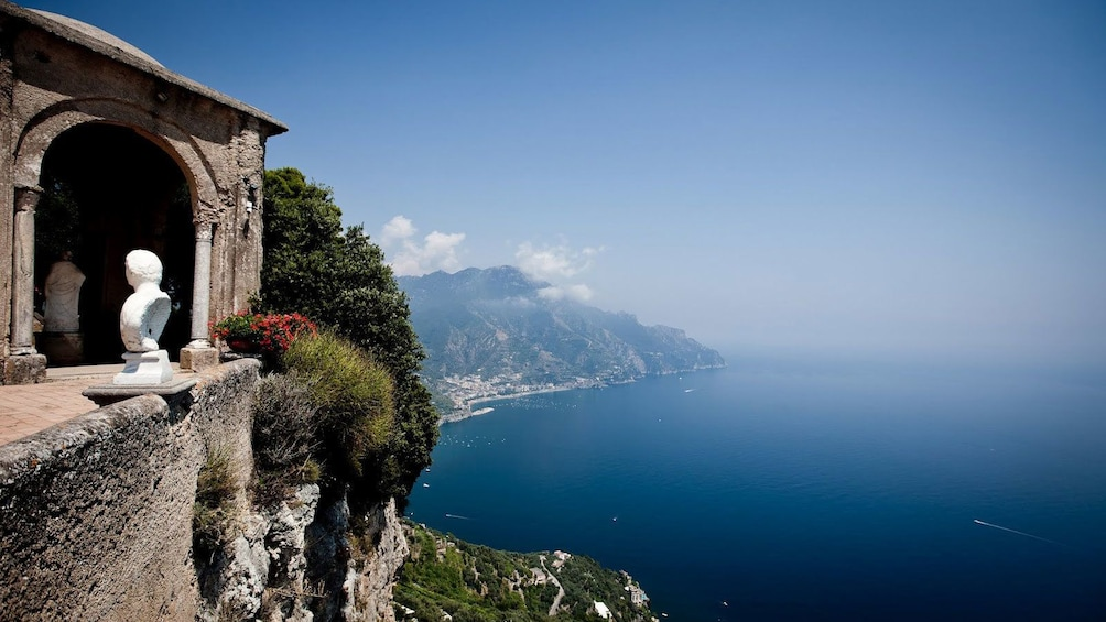 View from the Terrace of Infinity at the Villa Cimbrone historic site in Amalfi