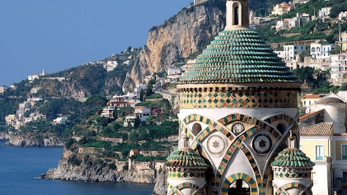 Amalfi Cathedral bell tower with city in the background
