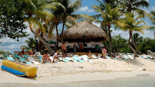 Lounge chairs and bar on the beach in Santo Domingo