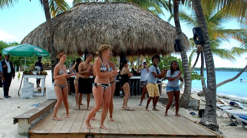 Dancing group on the beach in Santo Domingo