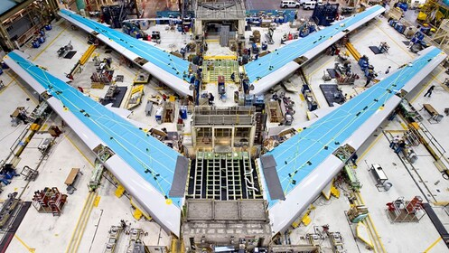 Air plane wings being built at the Boeing factory in seattle