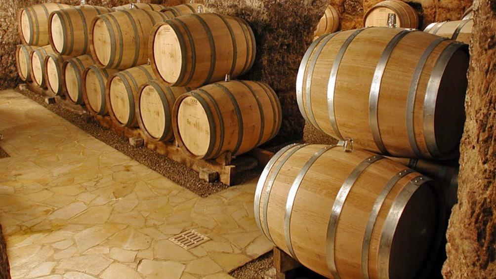 Show item 5 of 5. Village wine cellar barrels in France