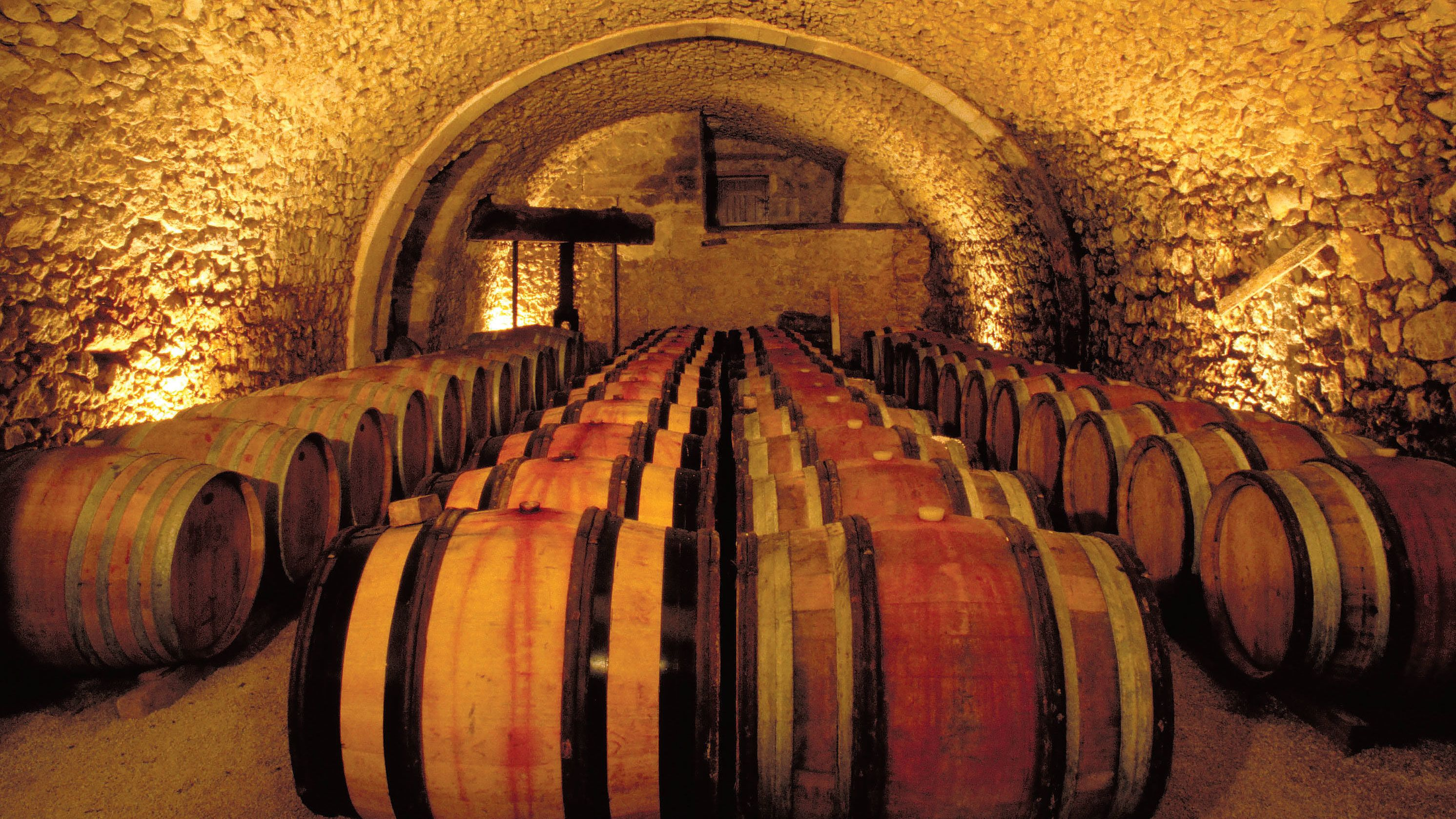 Underground Chateauneuf du Pape wine cellar in France