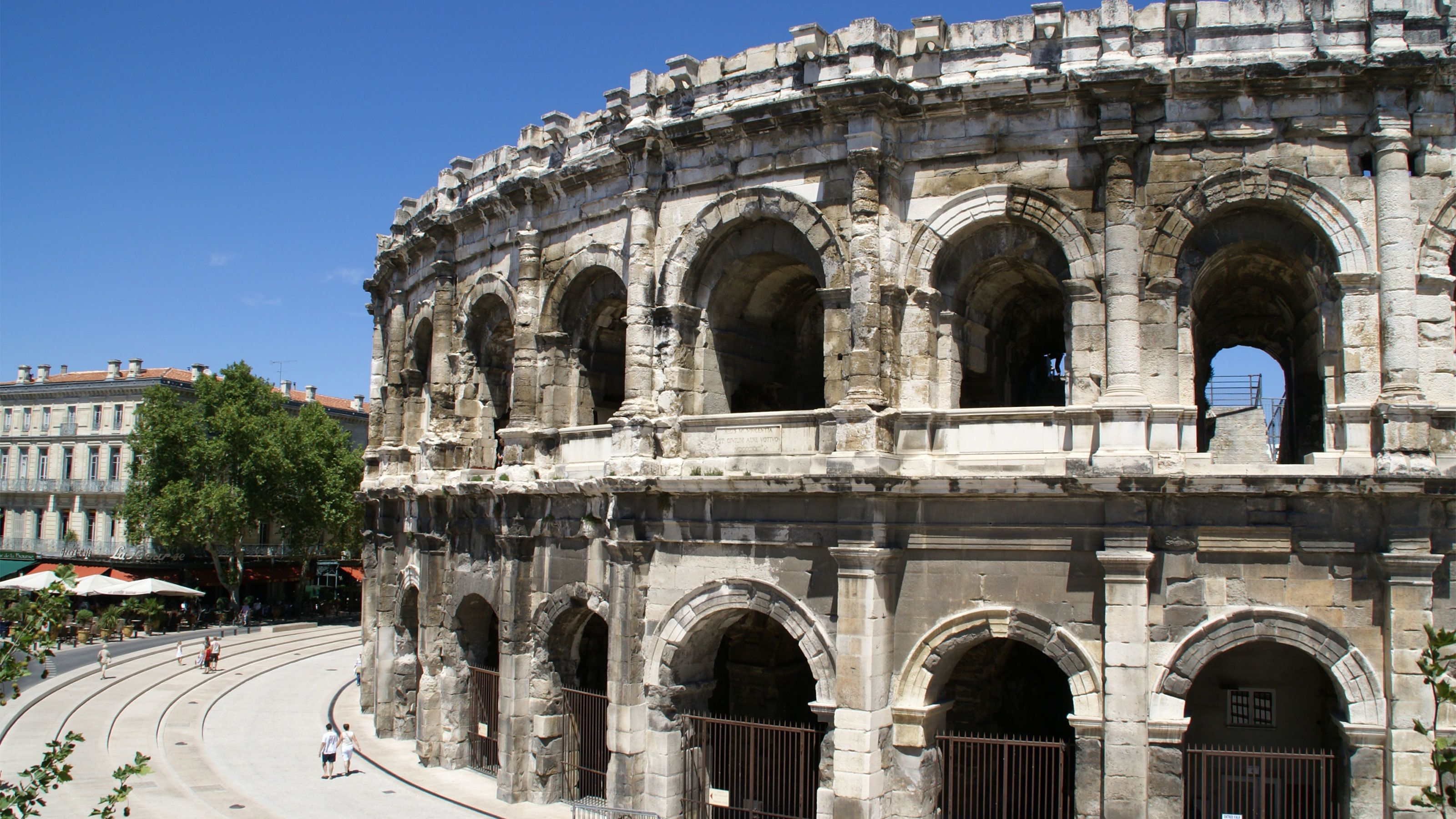 outside of the Arena of Nîmes in France
