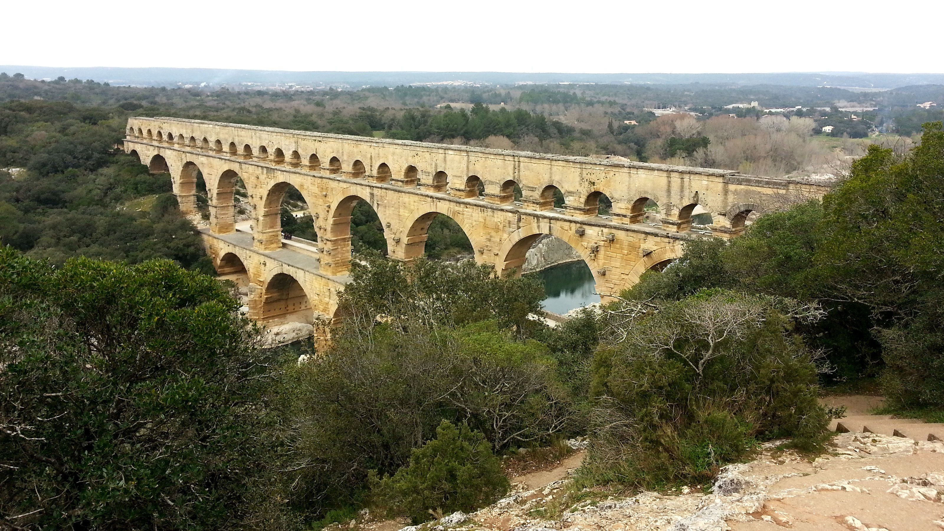 looking at the Pont du Gard from the top of a hill in France