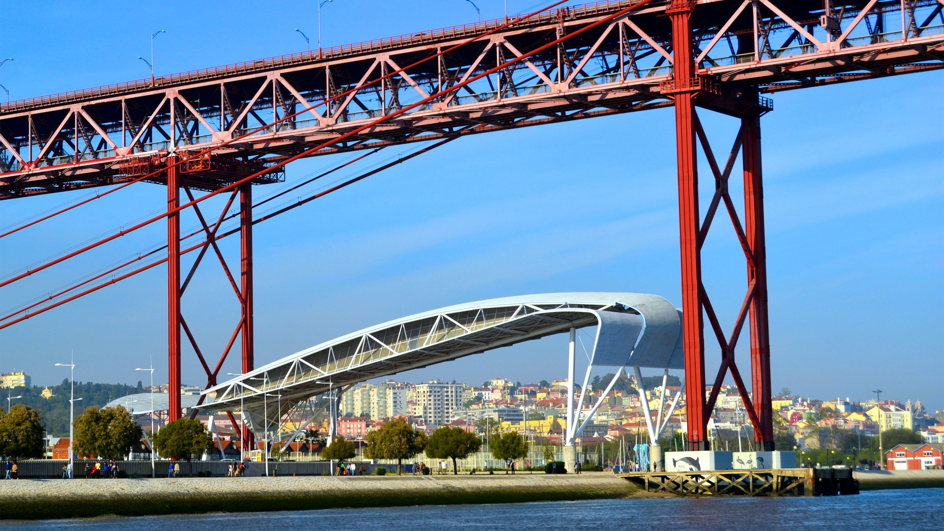 Under the 25 de Abril Bridge in Lisbon