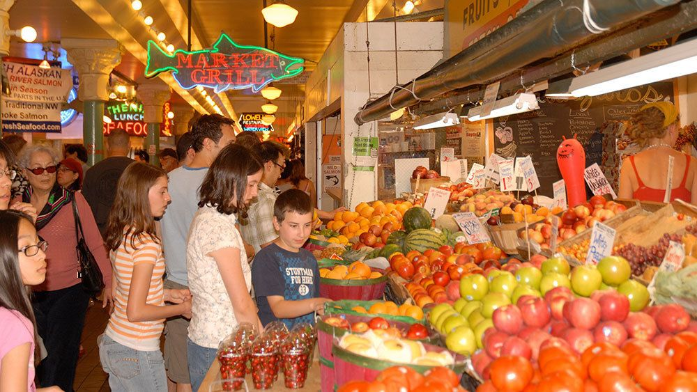 local produce on display at the Pike Place Market in Seattle