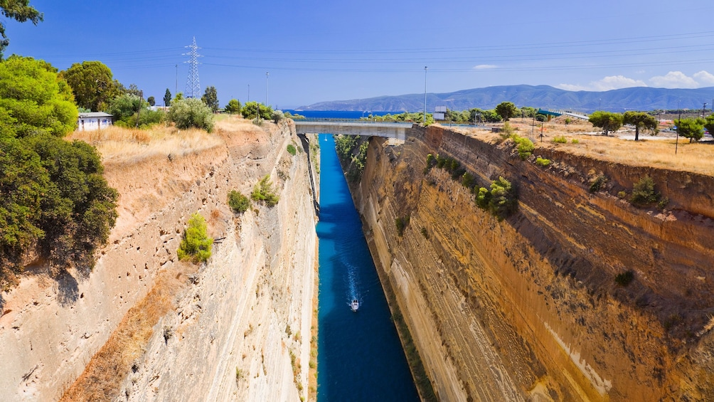 Show item 5 of 5. Ship passing through the Corinth Canal in Greece