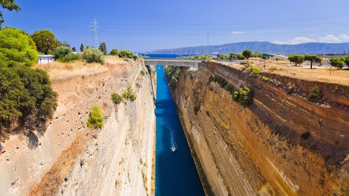 Ship passing through the Corinth Canal in Greece