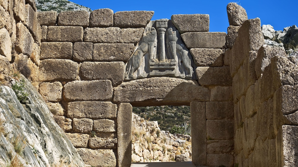 Show item 2 of 5. The Lion Gate at ancient site of Mycenae in Greece