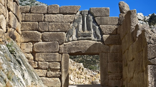 The Lion Gate at ancient site of Mycenae in Greece
