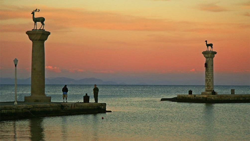 sun setting at the bay in Rhodes