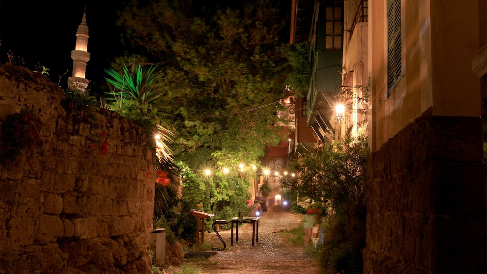 evening lit alleyway in Rhodes