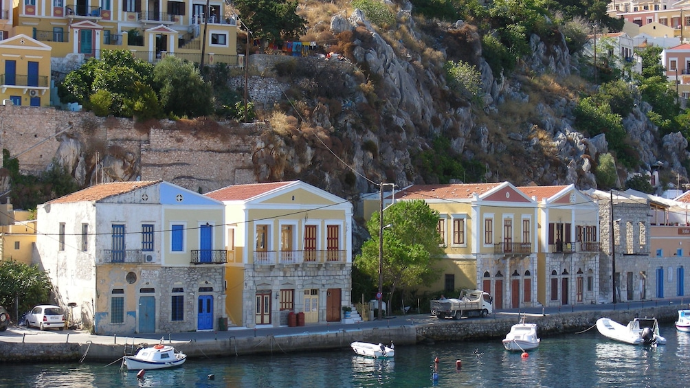 dwellings along the waterfront at Symi Island in Greece