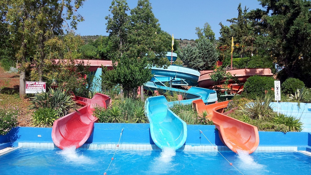 Show item 8 of 8. different waterslide courses at the waterpark in Greece