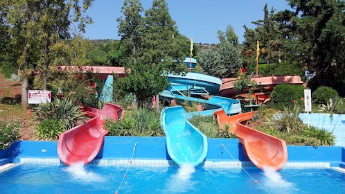 different waterslide courses at the waterpark in Greece