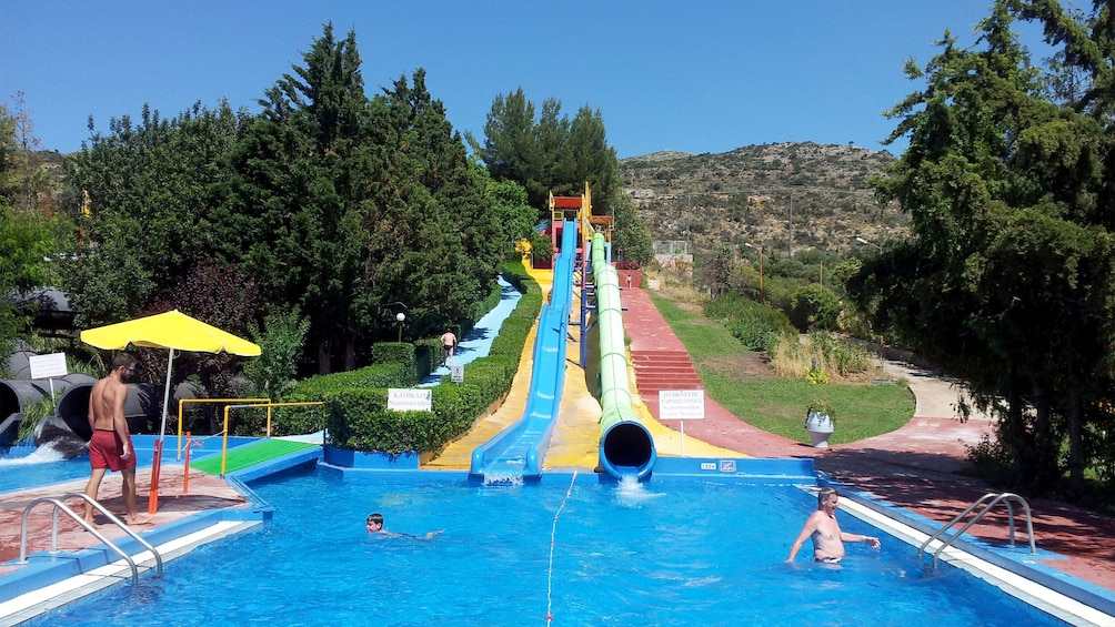 waterslide at the end of the pool at the waterpark in Greece