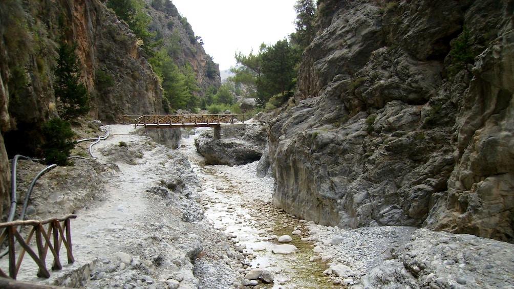 wooden bridge at the Imbros Gorge in Crete